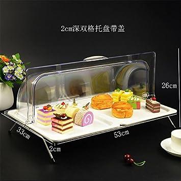 LXCC Rejilla Doble Bandeja De Fruta, Bandeja De Compartimento Cubierta, Snack Buffet Display Rack