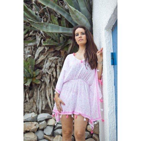 Poncho da spiaggia con nappe, rosa, 80x50 cm