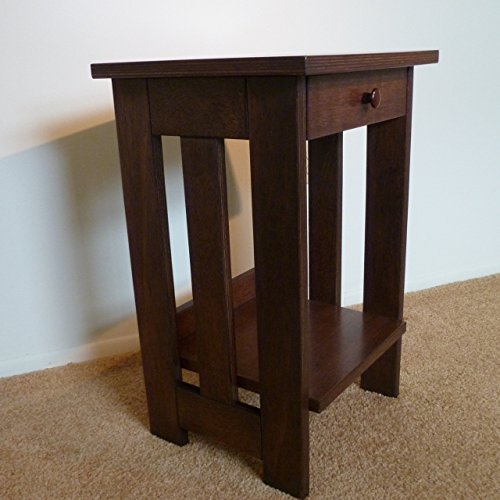 Mission-style nightstand or end table shipped flat pack. Some assembly required.