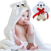 N.H.S. Baby Products All Cotton Polar Bear Bath Towel with Washcloth and Socks