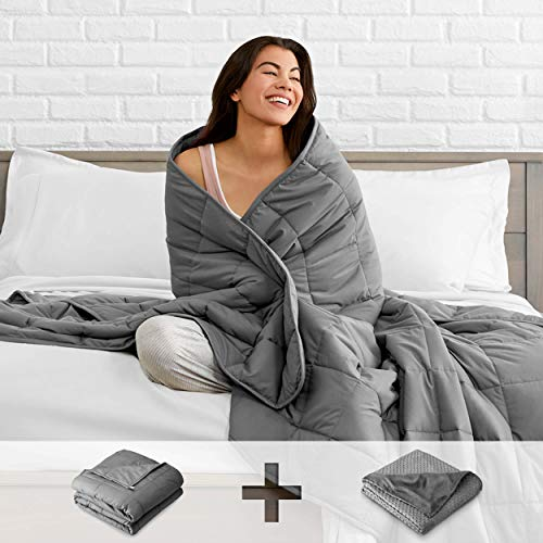 Cheap Bare Home Adult Weighted Blanket with Cover 17lb - Standard Size - Circle Pattern Duvet Cover (60