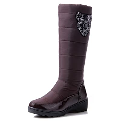 Aisun Women's Warm Round Toe Faux Fur Lined Pull On Low Heel Winter Down Boots Under The Knee High Snow Boots