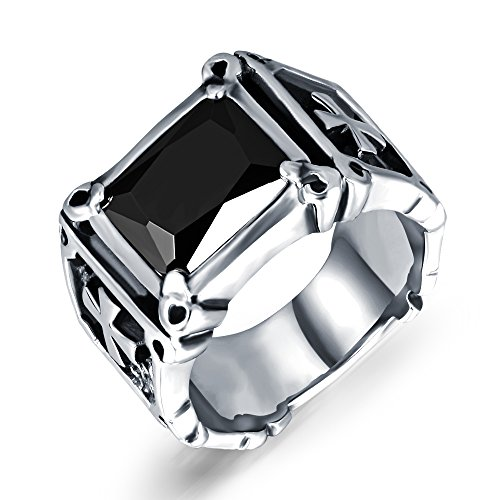 (TEMICO Vintage Red & Black Zircon Simulated Ruby Stainless Steel Cross Ring Band for Men, Size 7-11)