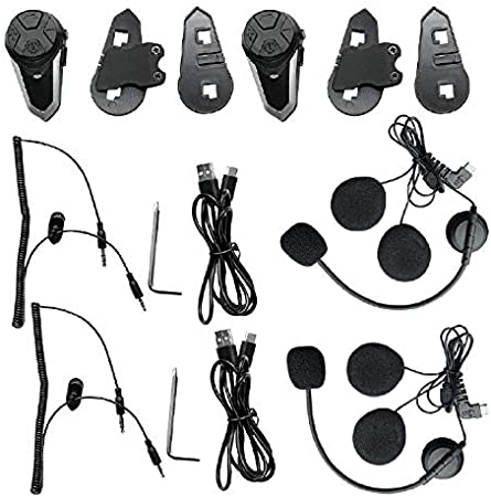 Radio FM e Bluetooth Vivavoce QSPORTPEAK Interfono Moto Bluetooth Coppia BT-S3 Interphone con Auricolari Bluetooth con Sistema di Comunicazione in Tempo Reale Impermeabili per Casco Moto Doppia