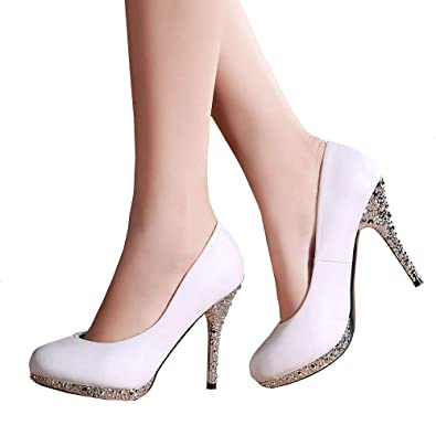da05a609d519a Getmorebeauty Women's Off White Glitter Dress Wedding Shoes High ...