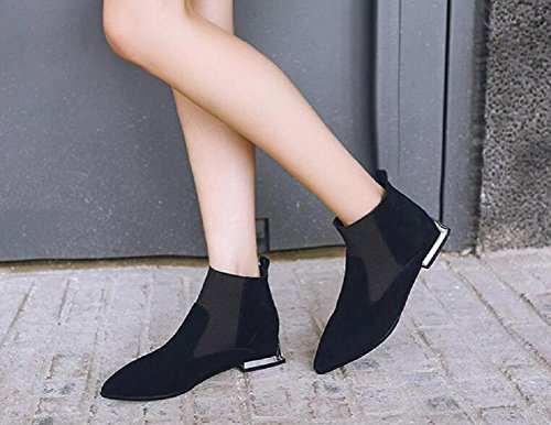Women's Daily Shoes Pointed Sleeve Short Boots Suede Casual Ankle Boots Stylish Cut with Real Leather 36 GUux5