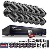 SANNCE 16 Channel Security Camera System,16CH Hybrid HD-TVI 1080N DVR with 2TB HDD + (12) 720P 1280TVL Night Vision Outdoor/Indoor Weatherproof Home Surveillance Cameras,Motion Detect, Email Alert