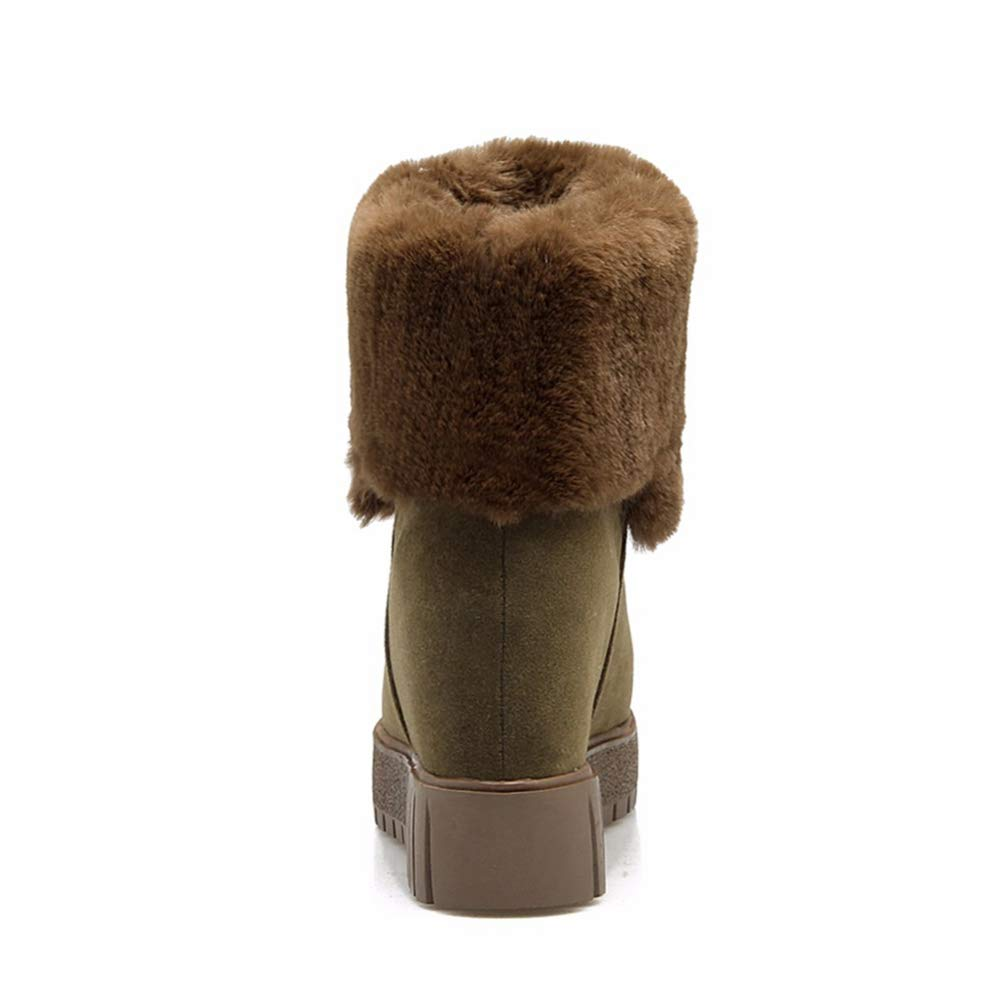 Hoxekle Suede Women Snow Boots Mid High Winter Boots Female Warm Flat Shoes Round Toe Mid-Calf Bootes