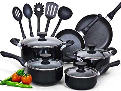 Premium Cookware Set Nonstick Coating 15 Piece, Black, Glass Lid, on Featured on Food Network