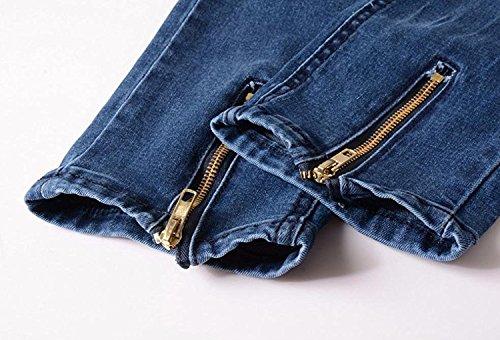 Pants Strappati Sky Pantaloni Skinny Alla Distrutto Moda Blu Cerniera Minetom Jeans Con Denim Uomo Fit Cuciture pxgBqR7O