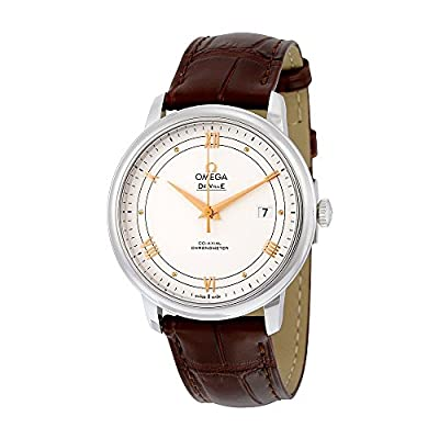 Omega De Ville Prestige Silver Dial Brown Leather Mens Watch 424.13.40.20.02.002