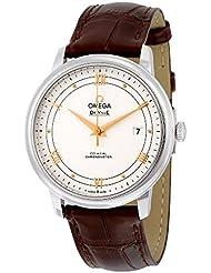 Omega De Ville Prestige Silver Dial Brown Leather Mens Watch 424.13.40.20.02.002