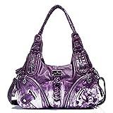 Handbag Hobo Women Bag Roomy Multiple Pockets Street ladies' Shoulder Bag Fashion PU Tote Satchel Bag for Women (11282Z purple)