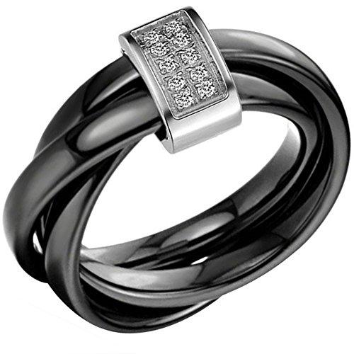 Flongo Men's Stainless Steel Three Black Ceramic Ring Rhinestone White Rectangular Wedding Band, Size 8 (Black Ring With Rhinestones)