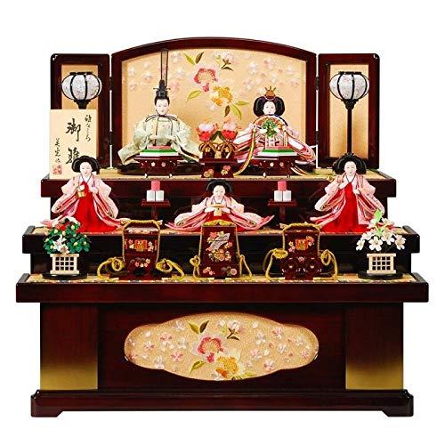 雛人形 五人揃収納飾り 【光悦】セット(5人)[幅64cm] 花梨塗 引出し式[sb-18-246] 雛祭り   B07KVXV9D5