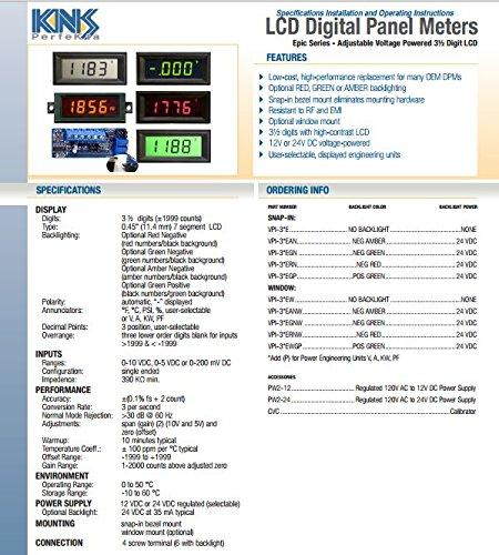 variable voltage input 3 1//2 digit Voltage Powered Green LCD VPI-1CGP-K Digital Panel Meter Voltmeter