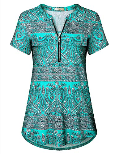 Luranee Classy Tops for Women, Misses Sophisicated Business Attire Notch V Neck Half Zip Trendy Shirts Blouson Retro Funny Snug Form Fitting Tunic Blouse Frumos Low Cut Knit Summer Tee Green Large ()
