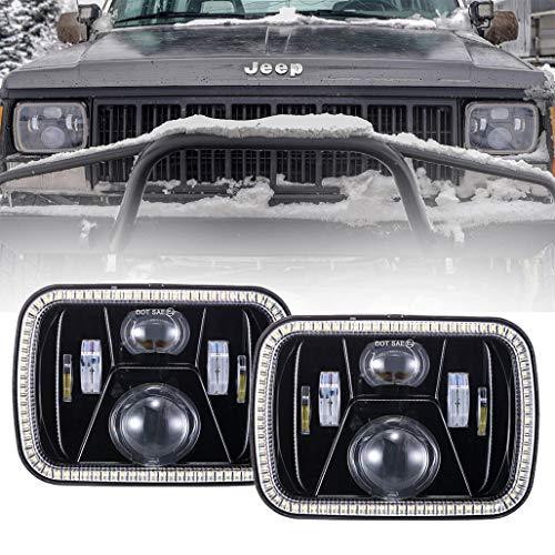 2019 New 5x7 LED Headlights 7x6 LED Headlights with Turn Signal Amber DRL White Halo Sealed Beam Headlamp H6054 6054 Led Headlight for Jeep Wrangler YJ Cherokee XJ H5054 H6054LL 6052 6053 Black, 2pcs