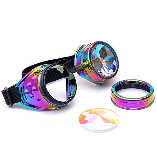 OMG_Shop Fashion trend kaleidoscope glasses steam punk glasses retro round sunglasses psychedelic laser sunglasses - Sunglasses Laser