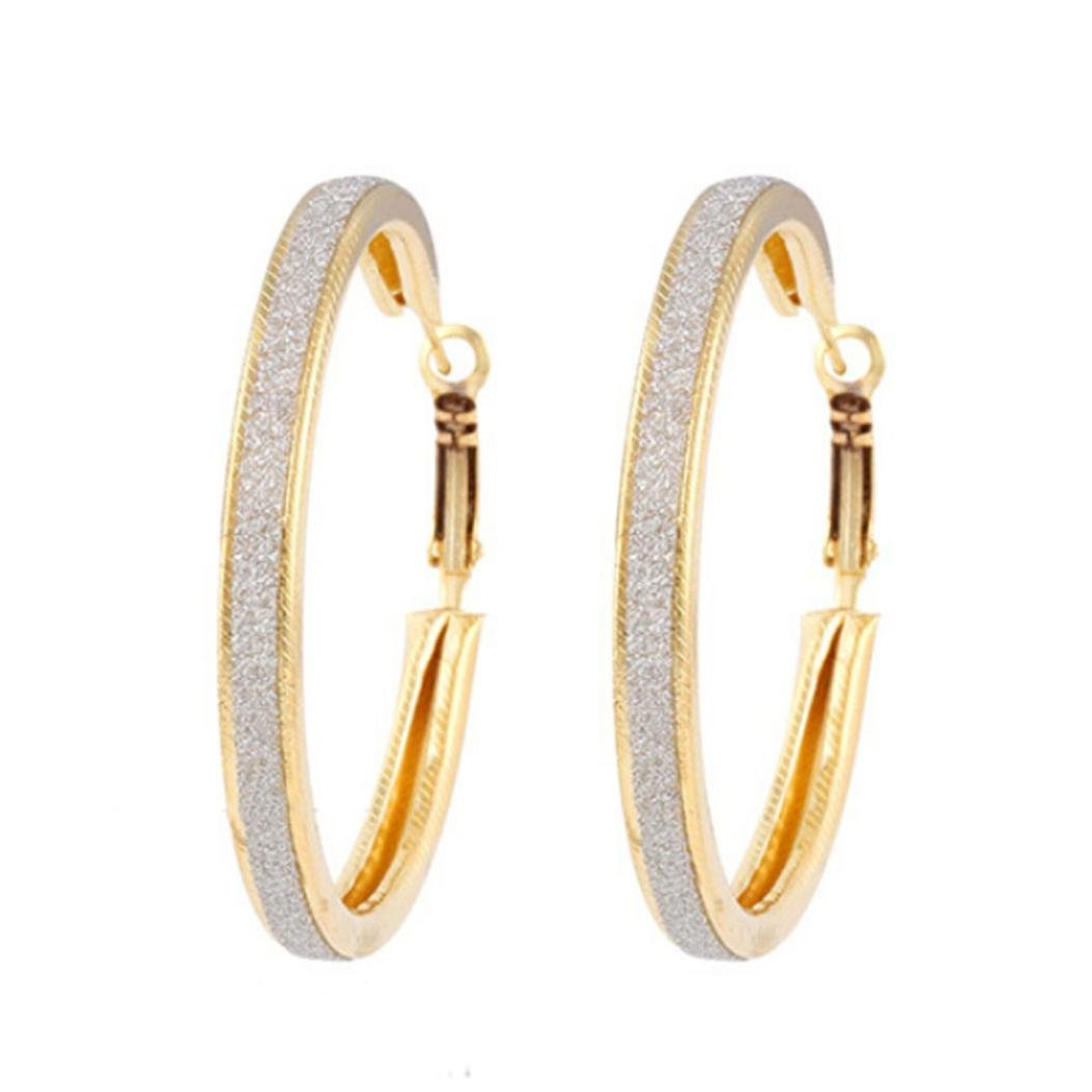 Minshao 1Pair Women Alloy Grind Arenaceous Annulus Dangle Earings Eardrop Jewelry (Gold)