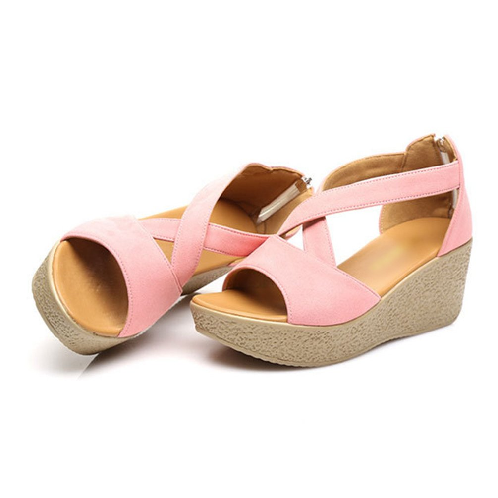 Anguang Moda Cinghie Incrociate Piattaforma Sandali Donna da Spiaggia Donna Sandali Estate Scarpe con Cerniera Pink 18c2a8