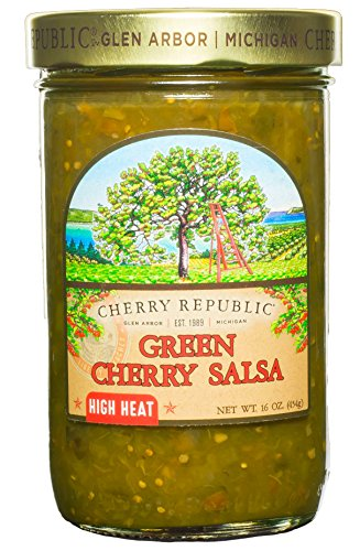 Cherry Republic Green Cherry Salsa - High Heat Tomatillo Salsa Mix with Authentic Michigan Cherries, Fresh Tomatillos - Spicy Fruit Salsa - Works Great as a Recipe Ingredient & Dip - 16 Ounces ()