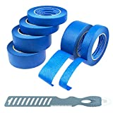 how to paint house exterior Blue Painters Tape 6 Roll Kit (3 Rolls 1 & 2 Inch; Multitools)   for All DIY & Professional Painting Projects   Wide Blue Tape   Crepe Paper Masking Painter's Tape   Clean Removal & Multi-Surface Use