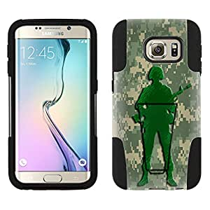 Samsung Galaxy S6 Edge Hybrid Case Marine Green Camouflage Soldier 2 Piece Style Silicone Case Cover with Stand for Samsung Galaxy S6 Edge