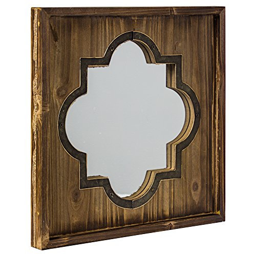 American Art Decor Whitewashed Rustic Wood Metal Wall Vanity Farmhouse Mirror (Square) (Quatrefoil Mirror)