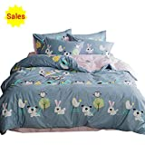 perfect modern duver cover  Cartoon Animal Color Rabbit Cotton Home Textile Bedding Set with Pillow Shams Lightweight Duvet Cover Sets for Kids Teens Twin 3 Piece Reversible Pink Blue Bed, Twin