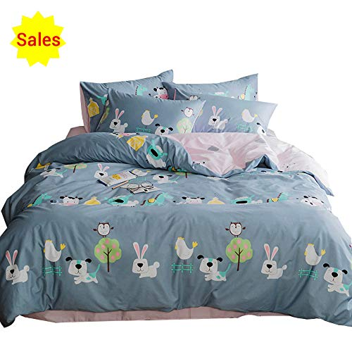 Cartoon Animal Color Rabbit Cotton Home Textile Bedding Set with Pillow Shams Lightweight Duvet Cover Sets for Kids Teens Twin 3 Piece Reversible Pink Blue Bed, Twin
