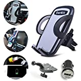 CarKit Universal Car Phone Holder Mount Cradle 2in1 Air Vent/CD Slot and Bonus Car Charger - Comfortable and Easy to Use for iPhone X 8+ 8 7 7+ 6 6+ 6s 5s Samsung Galaxy S8 S7 S6 Edge S6 and More…