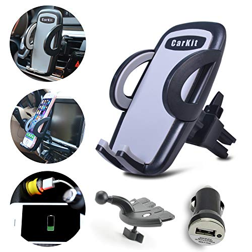 CarKit Universal Cell Phone Holder For Car 2in1 Air Vent/CD Slot & Bonus Car Charger Car Phone Holder Mount For iPhone X Xs, Max 8+ 8 7+ Samsung Galaxy S10+ S10 S9+ S8+ S7 Edge and More Mobile Devices