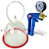 LeLuv Vacuum Breast Pump Kit Maxi Blue with Gauge Natural Body Enhancement Increase Size Single Large Suction Cup