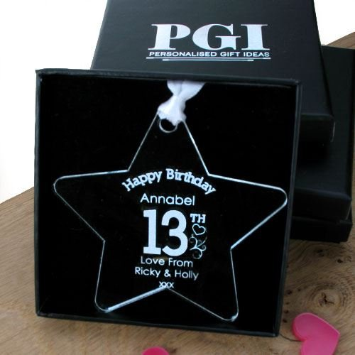 Personalised 13th Birthday Gift Idea Girls Acrylic Star Teenager Amazoncouk Kitchen
