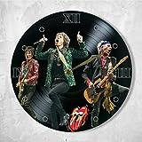 "SofiClock The Rolling Stones Vinyl Clock Painted 12"" - Wall Clock The Rolling Stones Rock Band - Best Gift for Rock Music Lover - Original Wall Home Decor (Vinyl Clock Painted 1)"