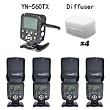 YONGNUO 4pcs YN-560 IV Kit Flash Speedlite With 560TX-N for D750 D700 D610 D600 D810 D800 D5300 D5200 D5100 D5000 D90 D80 D3300 D3200 D3100 D3000 D7100 D7000 With EACHSHOT® Diffuser