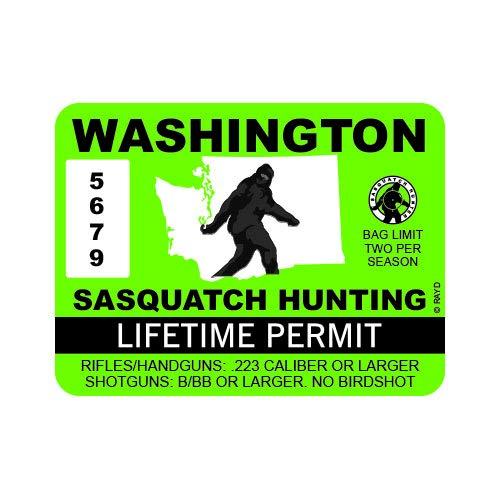 """RDW Washington Sasquatch Hunting Permit - Color Sticker - Decal - Die Cut - Size: 4.00"""" x 3.00"""""""