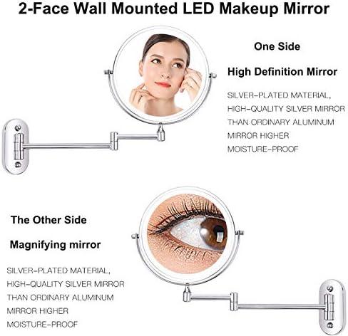 8インチウォールは、LEDメイクアップミラー10倍拡大鏡タッチ明るいアジャスタブルバスルームミラーダブルバニティミラーの両面マウント (Color : 3X Magnifying)