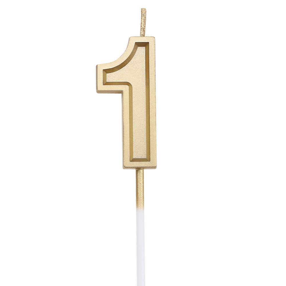 URAQT Velas De Cumpleaños Número 1, Velas De Cumpleaños Oro, Adecuado para Fiestas De Cumpleaños, Aniversarios De Bodas, Fiestas De Jubilación, Etc.