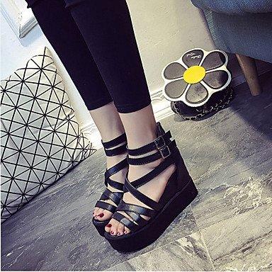 LvYuan Tacón Plano-Confort-Sandalias-Vestido Informal-PU-Multicolor Black