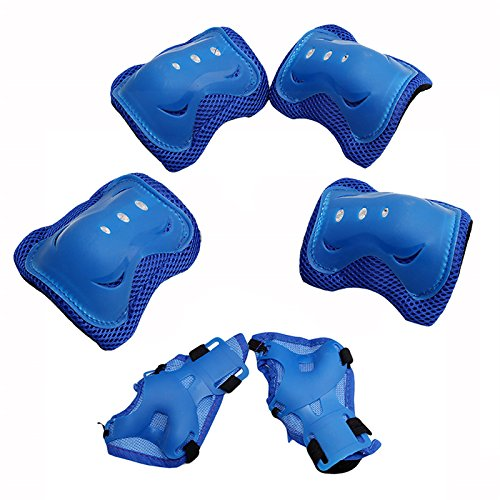 HS Kid's Roller Blading Wrist Elbow Knee Pads Blades Guard for Skating as Birthday Christmas Gift 6Pcs/Set (Blue)