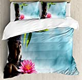 Zen Meditation Decor Queen Size Duvet Cover Set by Ambesonne, Zen Waterlilly Flowers Spa Decor Nature Feng Shui Natural Calm Water Floral, Decorative 3 Piece Bedding Set with 2 Pillow Shams