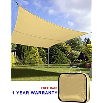 Quictent 20u0027 X 16u0027 Outdoor Rectangle Oversized Sun Shade Sail Canopy Patio  Garden Top Cover  Sand, With Free Carry Bag