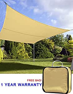 Quictent 20' x 16' Outdoor Rectangle Oversized Sun Shade Sail Canopy Patio Garden Top Cover- Sand, with Free Carry Bag