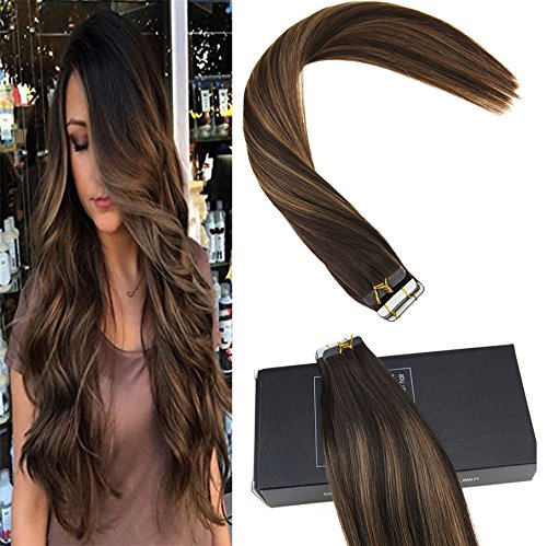 Sunny 16inch Remy Straight Tape in Hair Extensions Human Hair 40pcs 100g Color #2 Fading to Dark Brown Mixed Honey Brown Colorful Highlight Balayage Skin Weft Hair Extensions