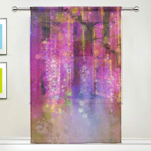 Dragon Sword Violet Red and Yellow Flowers Watercolor Sheer Window Curtain Voile Drape for Kitchen, Living Room or Kids Bedroom 55