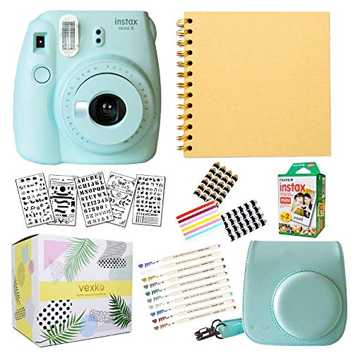 - Fujifilm Instax Mini 9 Instant Camera (ICE Blue) + Fuji INSTAX Film (20 Sheets) + Bundle with: Groovy Camera Case + Scrapbook Photo Album + Stencils + Metallic Markers + Photo Corners