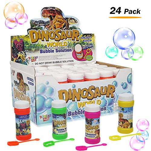 Liberty Imports Bubble Solution Refill Bottles with Wand | Replacement Refills for Bubble Guns | Party Favors for Kids (24 pack) - 2 oz -