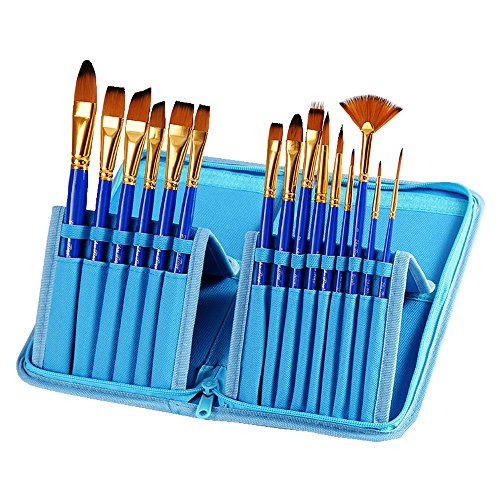 YXQSED-Artist Paint Brush Set 15 Different Shapes & Sizes Wood Handles For Body Paint Brush Set Round Pointed Tip Nylon Hair Artist Acrylic Brush for Watercolor /Oil /Crafts /Face Painting - Of Faces Shapes Different
